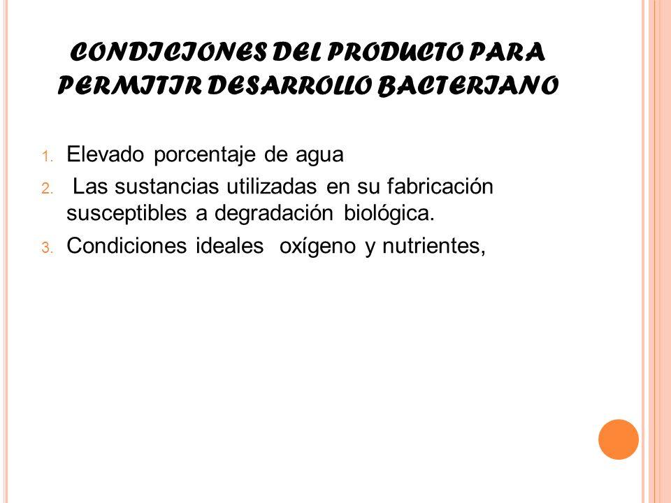 CONDICIONES DEL PRODUCTO PARA PERMITIR DESARROLLO BACTERIANO