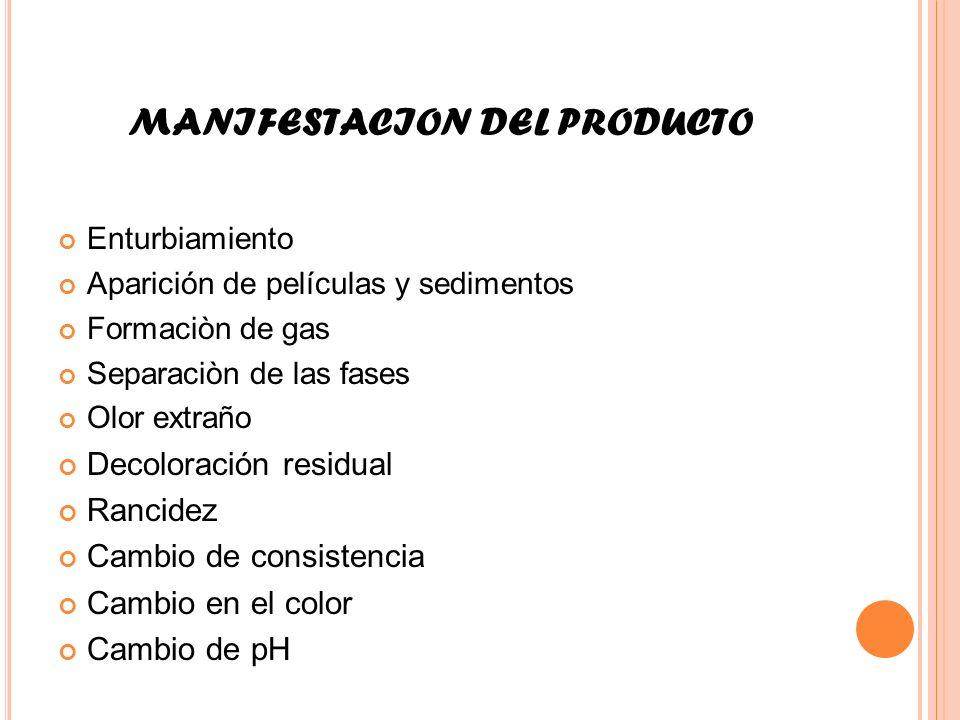 MANIFESTACION DEL PRODUCTO