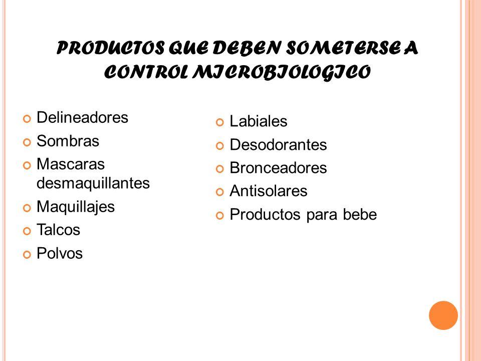 PRODUCTOS QUE DEBEN SOMETERSE A CONTROL MICROBIOLOGICO