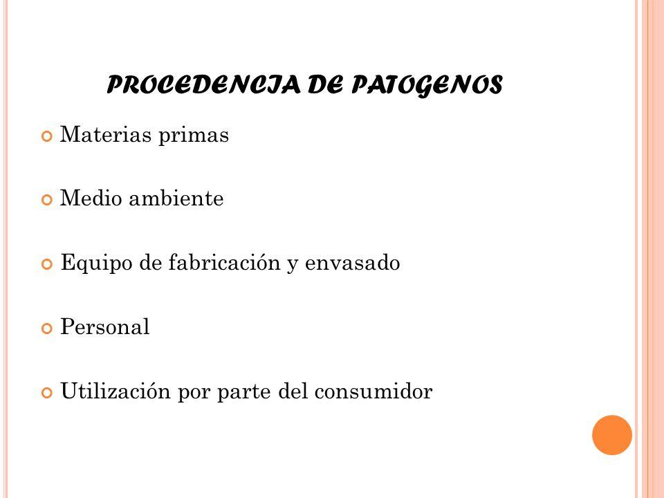 PROCEDENCIA DE PATOGENOS