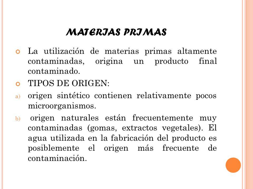 MATERIAS PRIMAS La utilización de materias primas altamente contaminadas, origina un producto final contaminado.