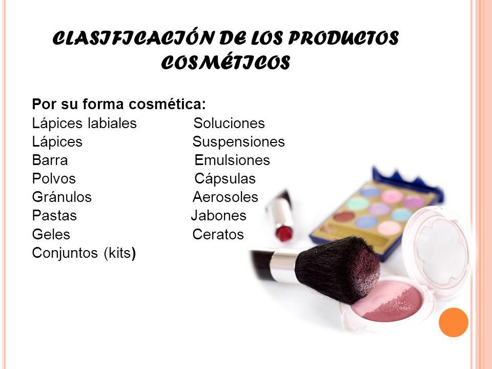 CLASIFICACIÓN DE LOS PRODUCTOS COSMÉTICOS