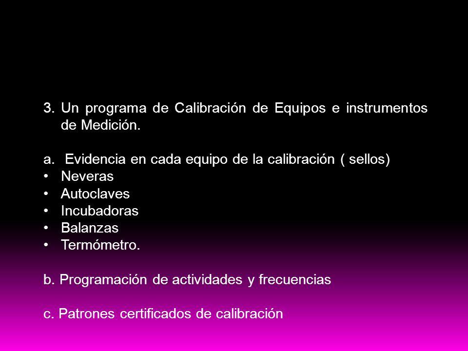 PRE-Requisitos HACCP3. Un programa de Calibración de Equipos e instrumentos de Medición. Evidencia en cada equipo de la calibración ( sellos)