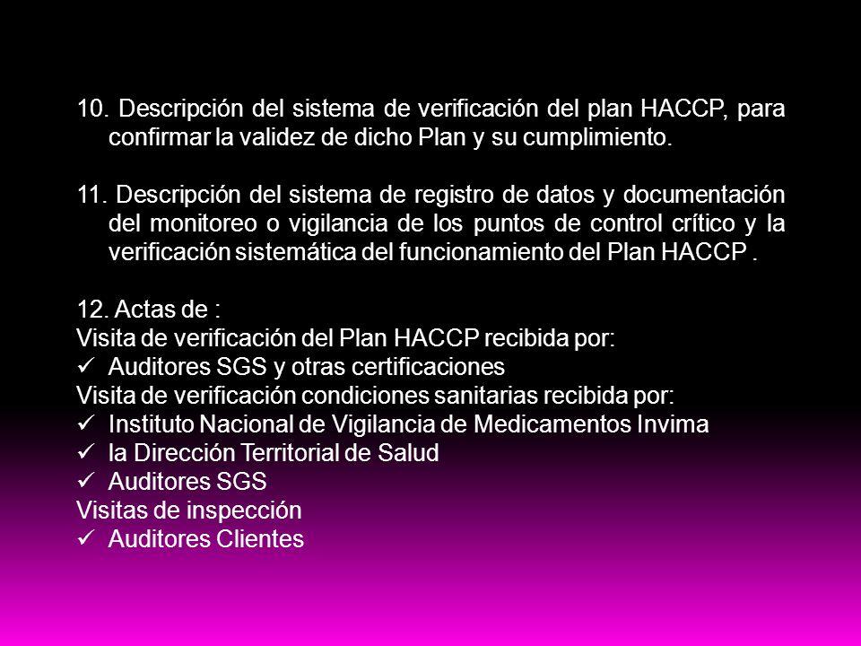 Contenido del plan HACCP