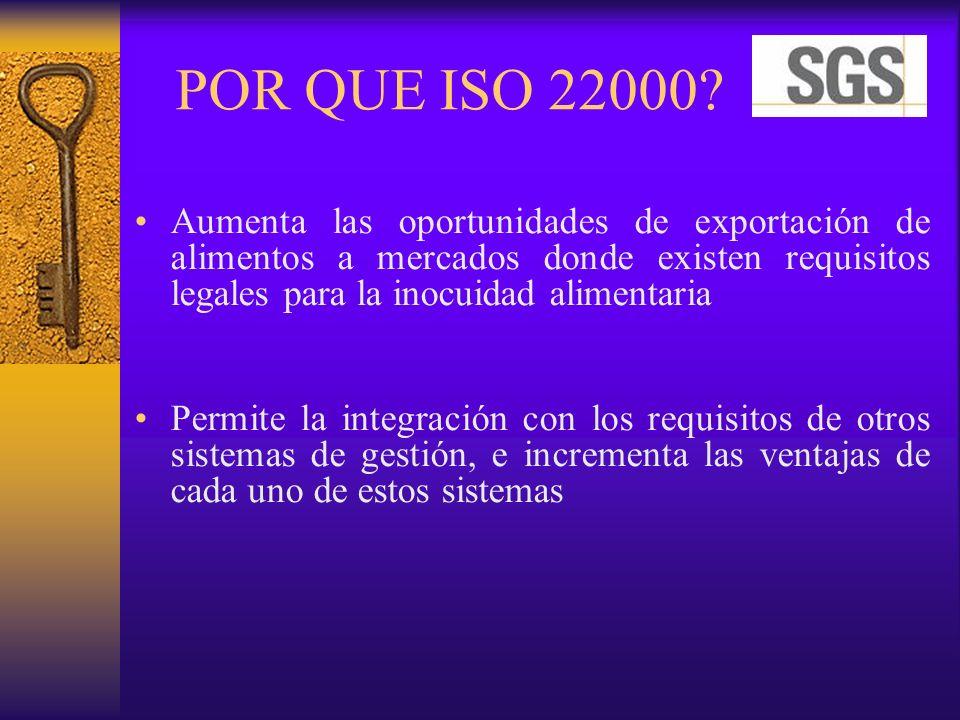 POR QUE ISO 22000 Aumenta las oportunidades de exportación de alimentos a mercados donde existen requisitos legales para la inocuidad alimentaria.