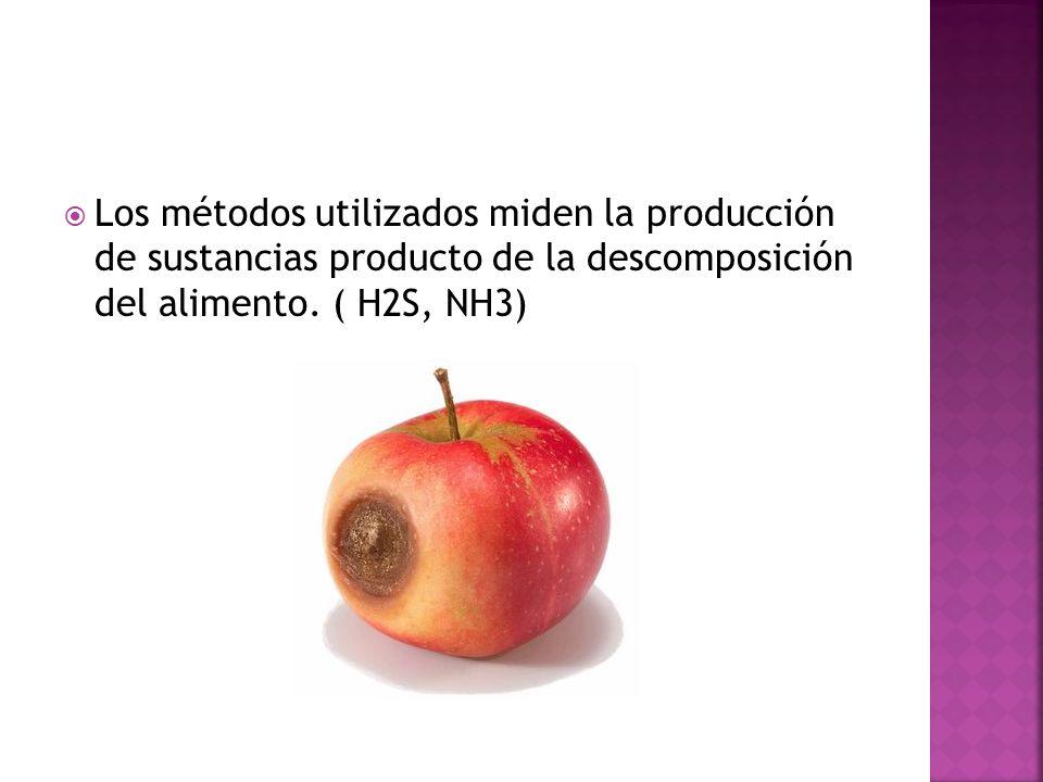 Los métodos utilizados miden la producción de sustancias producto de la descomposición del alimento.