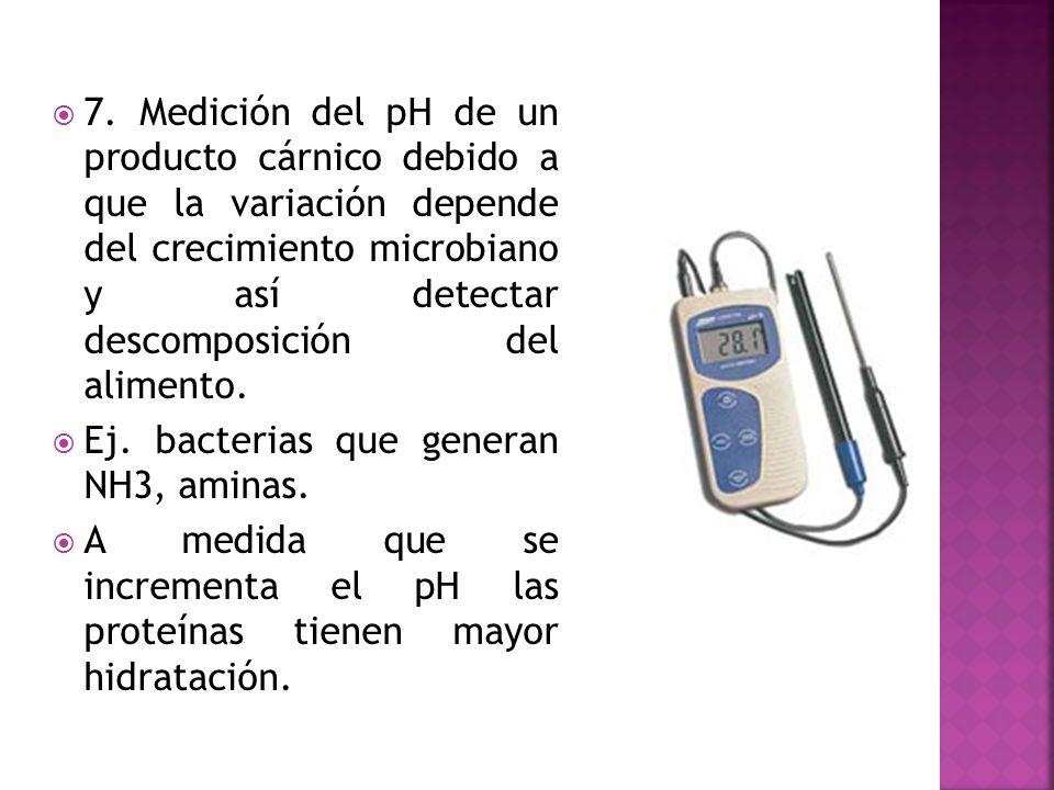 7. Medición del pH de un producto cárnico debido a que la variación depende del crecimiento microbiano y así detectar descomposición del alimento.