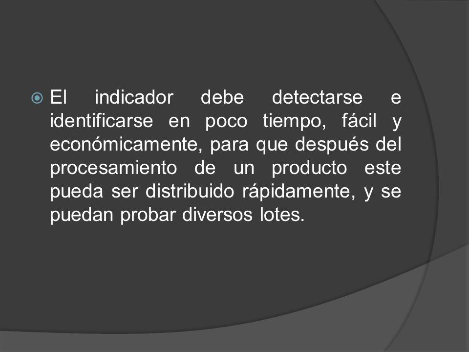 El indicador debe detectarse e identificarse en poco tiempo, fácil y económicamente, para que después del procesamiento de un producto este pueda ser distribuido rápidamente, y se puedan probar diversos lotes.