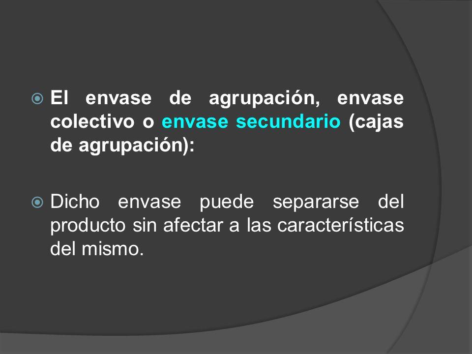 El envase de agrupación, envase colectivo o envase secundario (cajas de agrupación):