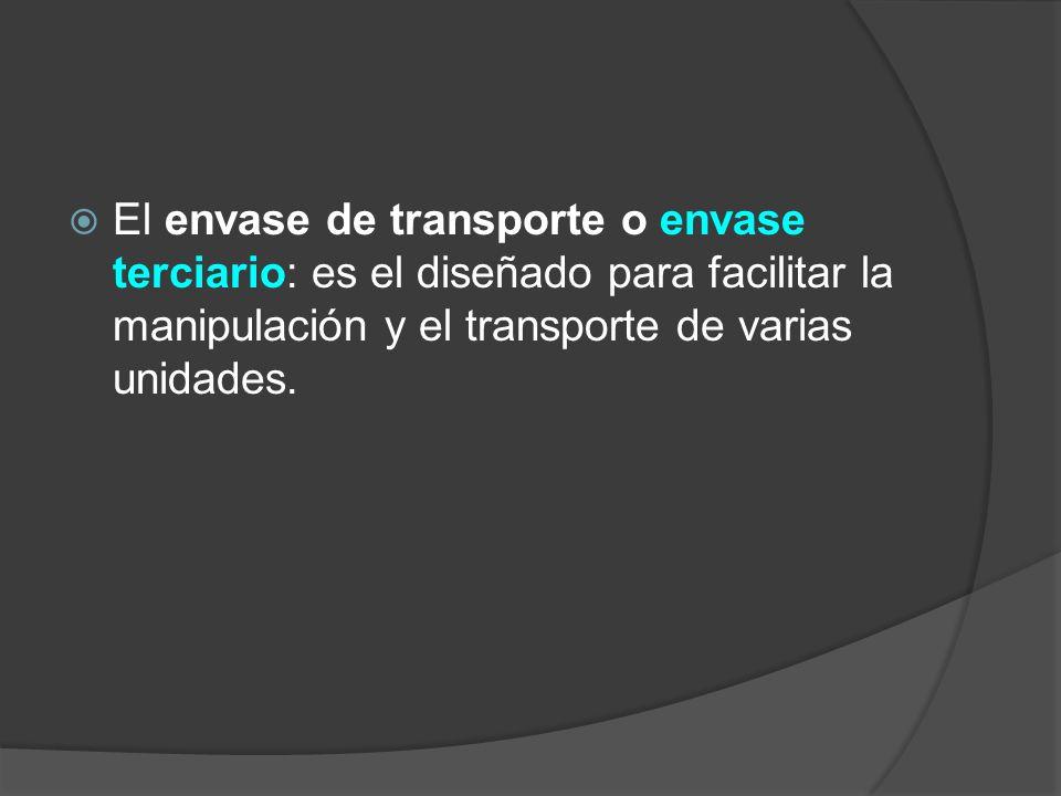 El envase de transporte o envase terciario: es el diseñado para facilitar la manipulación y el transporte de varias unidades.