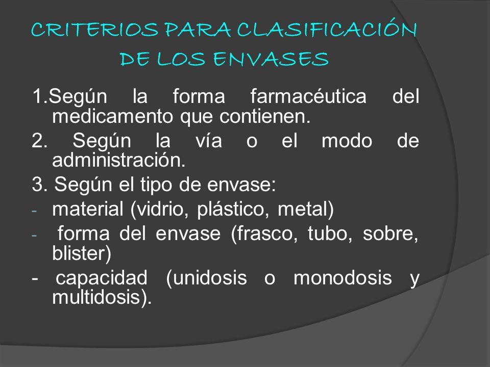 CRITERIOS PARA CLASIFICACIÓN DE LOS ENVASES