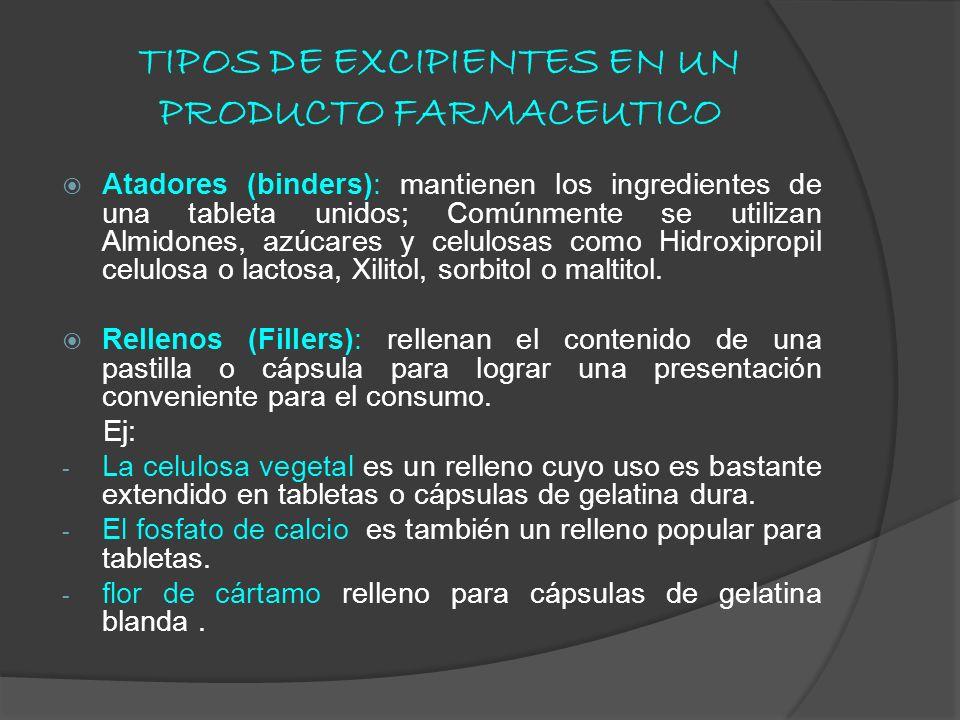 TIPOS DE EXCIPIENTES EN UN PRODUCTO FARMACEUTICO
