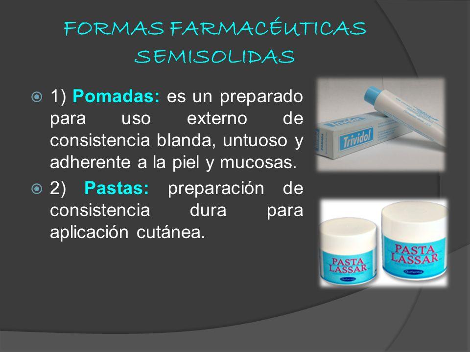 FORMAS FARMACÉUTICAS SEMISOLIDAS