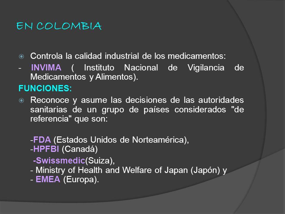 EN COLOMBIA Controla la calidad industrial de los medicamentos: