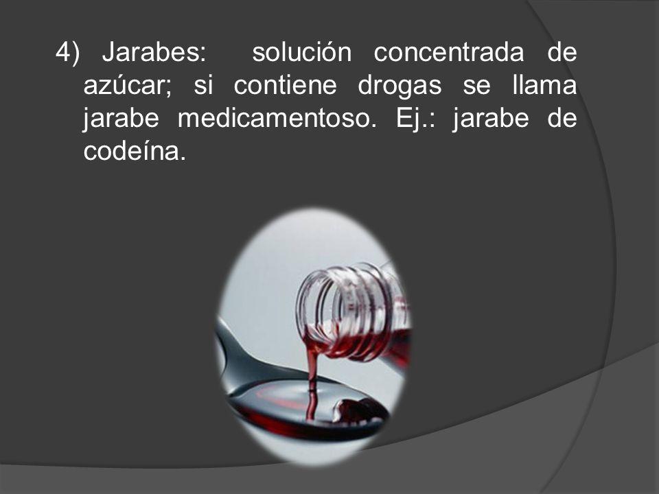 4) Jarabes: solución concentrada de azúcar; si contiene drogas se llama jarabe medicamentoso.