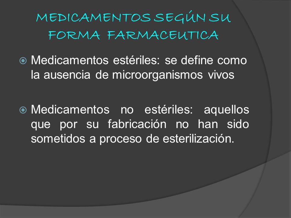 MEDICAMENTOS SEGÚN SU FORMA FARMACEUTICA