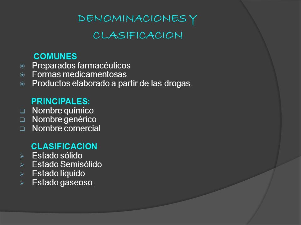 DENOMINACIONES Y CLASIFICACION