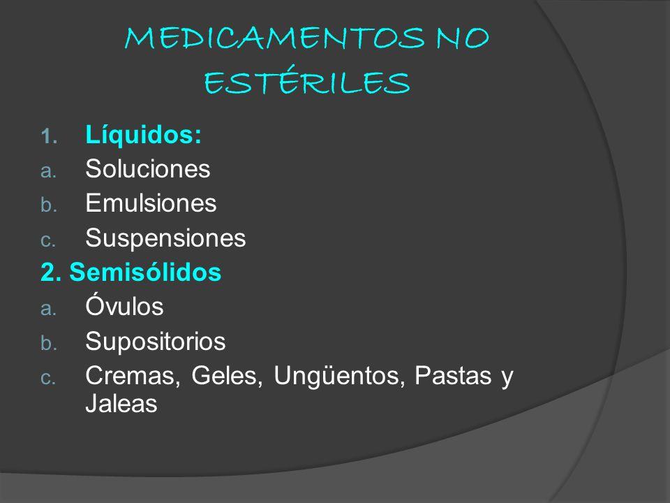 MEDICAMENTOS NO ESTÉRILES