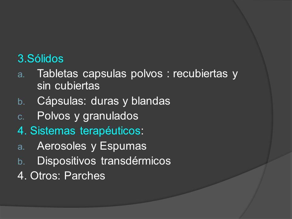 3.Sólidos Tabletas capsulas polvos : recubiertas y sin cubiertas. Cápsulas: duras y blandas. Polvos y granulados.