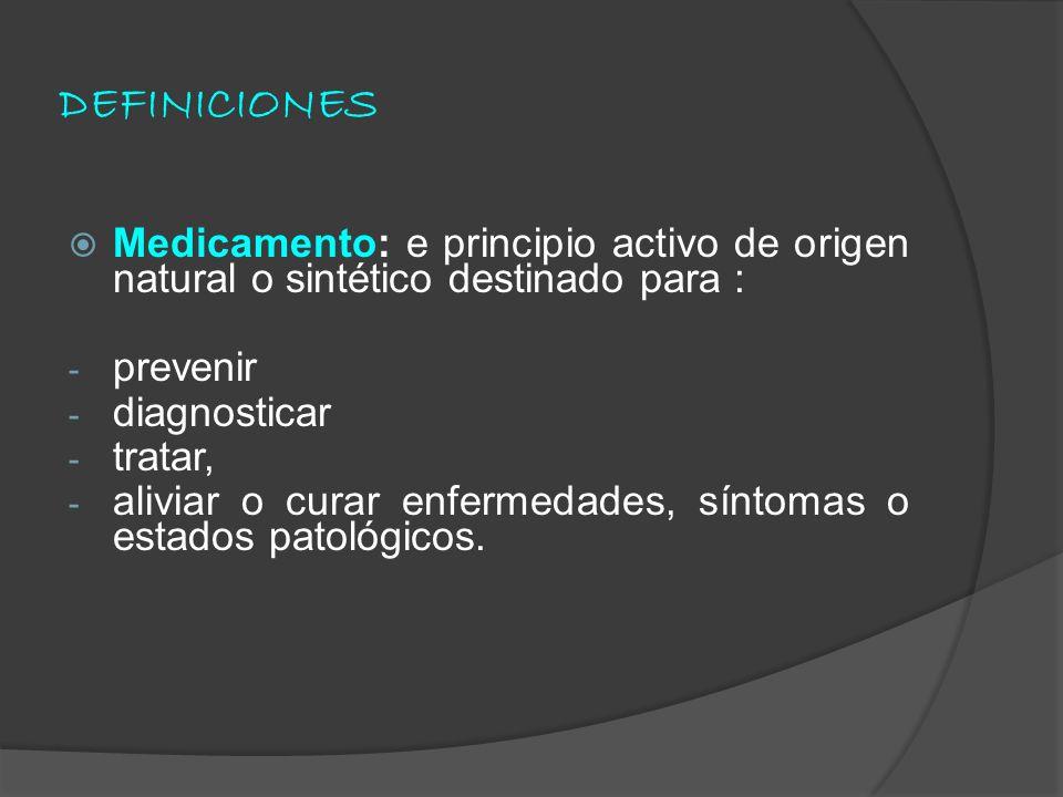 DEFINICIONES Medicamento: e principio activo de origen natural o sintético destinado para : prevenir.