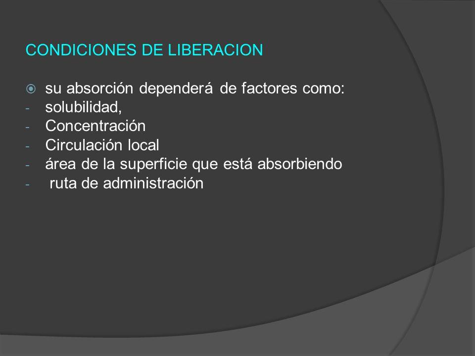 CONDICIONES DE LIBERACION