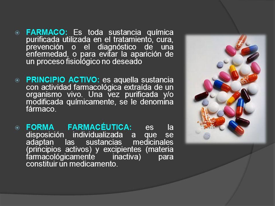 FARMACO: Es toda sustancia química purificada utilizada en el tratamiento, cura, prevención o el diagnóstico de una enfermedad, o para evitar la aparición de un proceso fisiológico no deseado