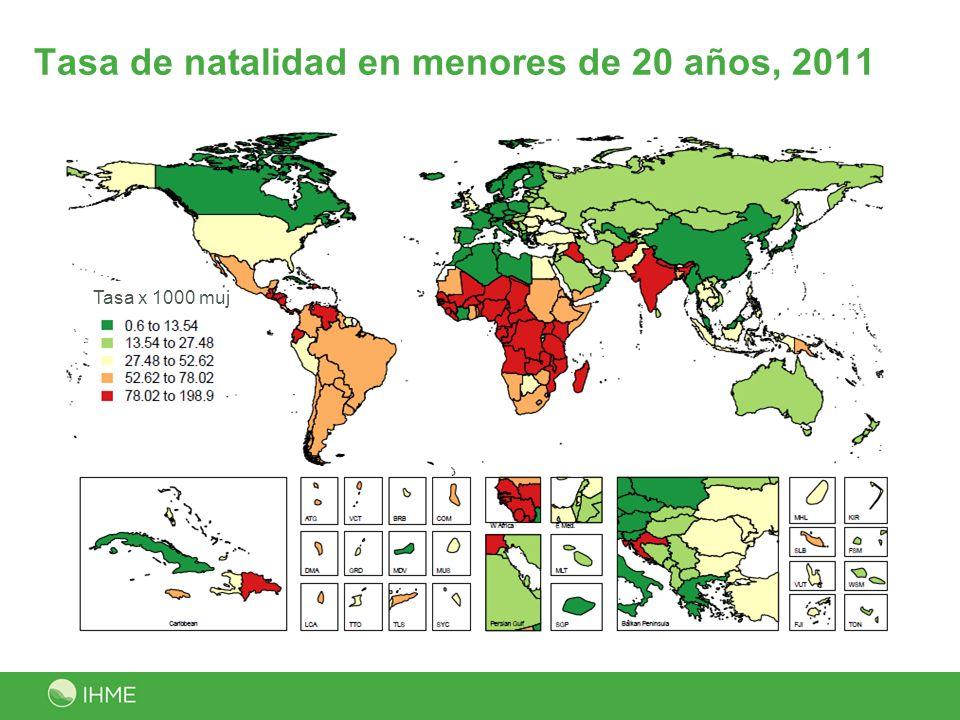 Tasa de natalidad en menores de 20 años, 2011