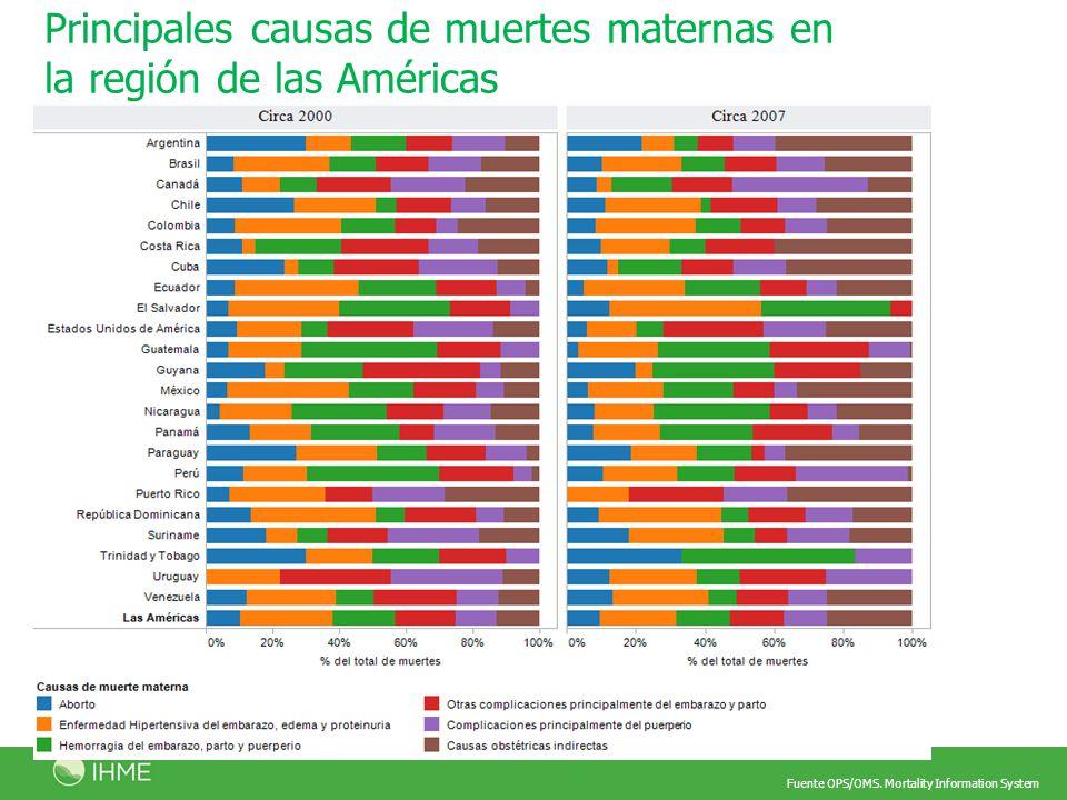 Principales causas de muertes maternas en la región de las Américas