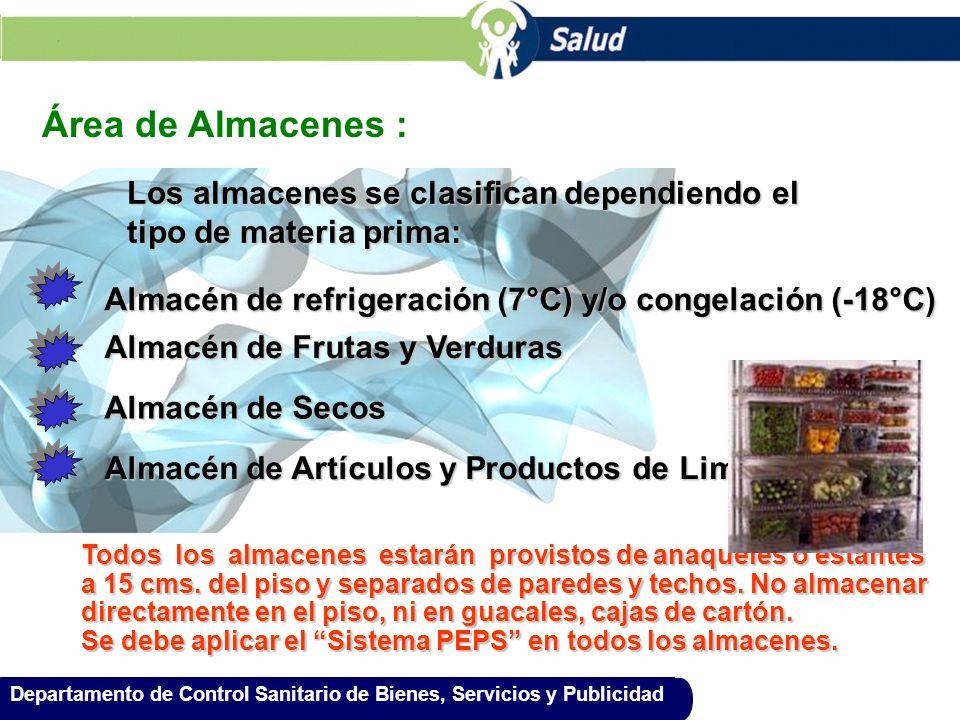 Área de Almacenes : Los almacenes se clasifican dependiendo el