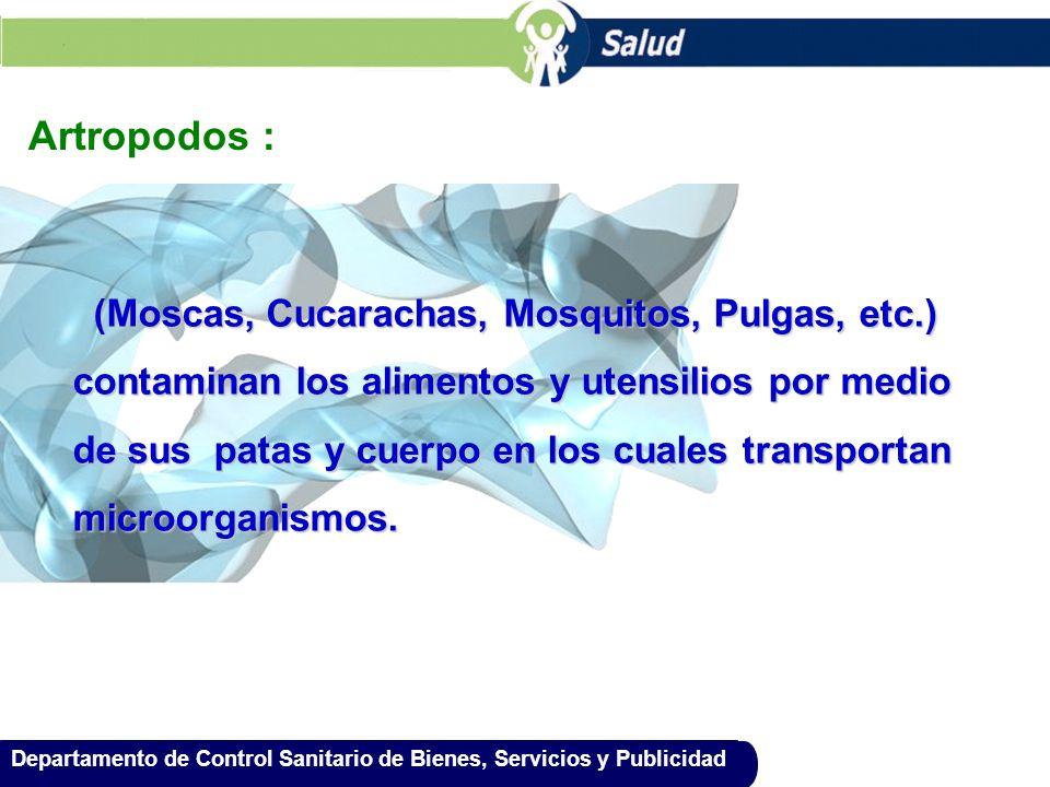 Artropodos : (Moscas, Cucarachas, Mosquitos, Pulgas, etc.)