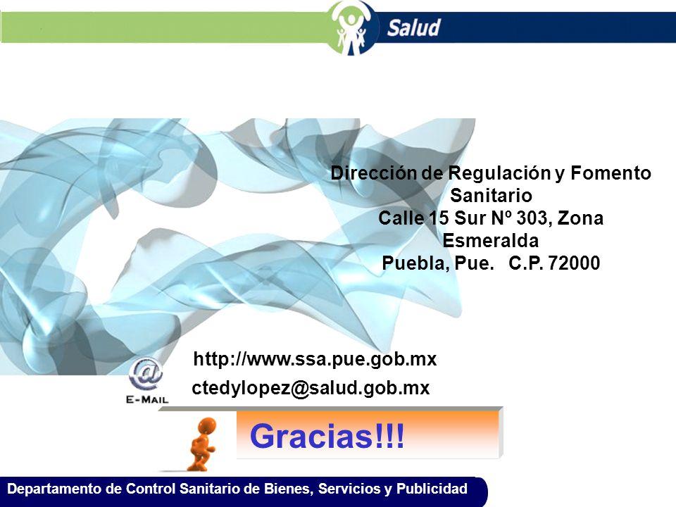 Gracias!!! Dirección de Regulación y Fomento Sanitario
