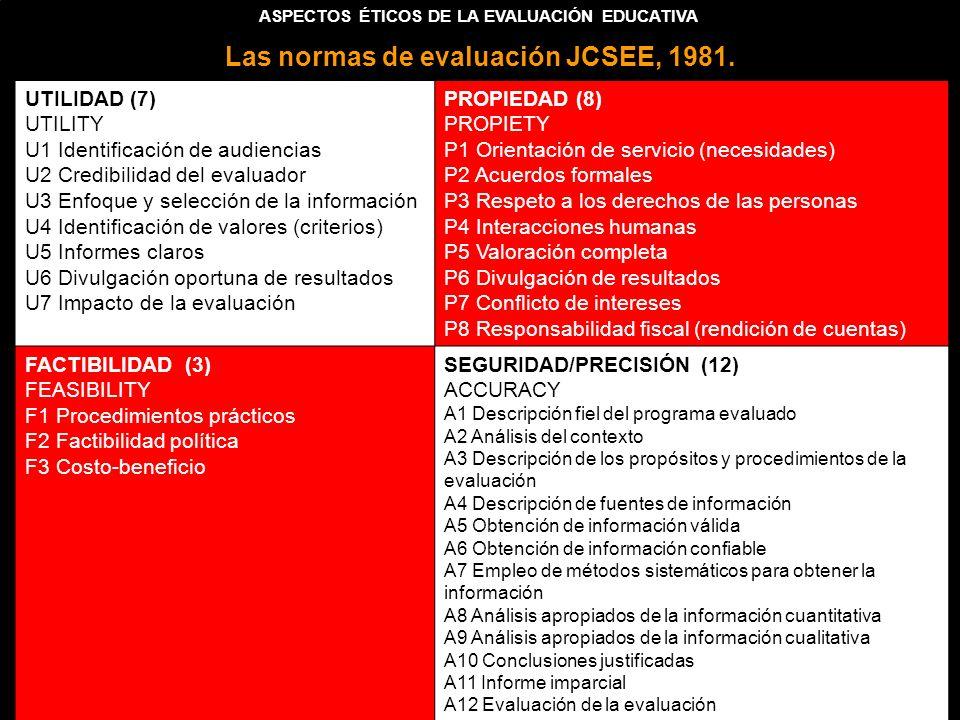 Las normas de evaluación JCSEE, 1981.