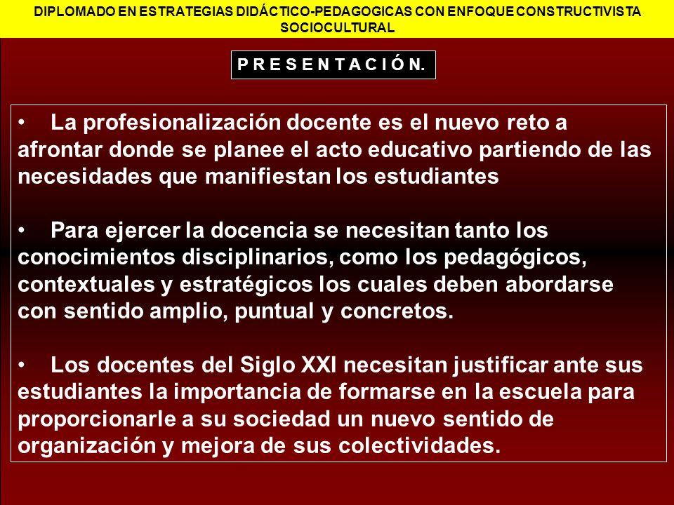 DIPLOMADO EN ESTRATEGIAS DIDÁCTICO-PEDAGOGICAS CON ENFOQUE CONSTRUCTIVISTA SOCIOCULTURAL