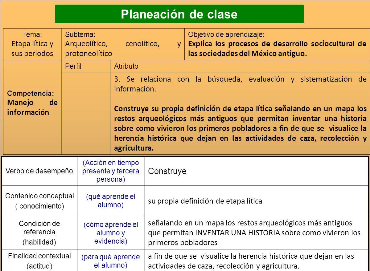 Planeación de clase Etapa lítica y sus periodos
