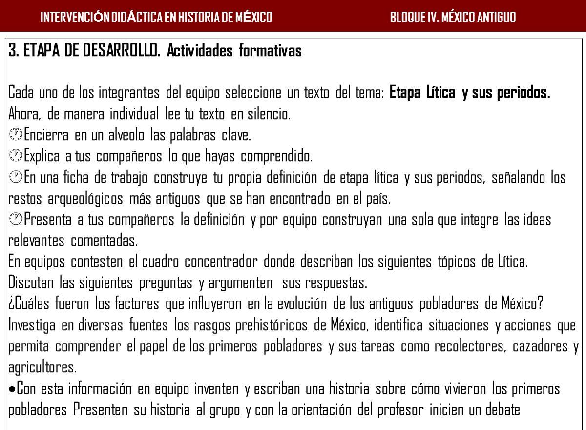 3. ETAPA DE DESARROLLO. Actividades formativas