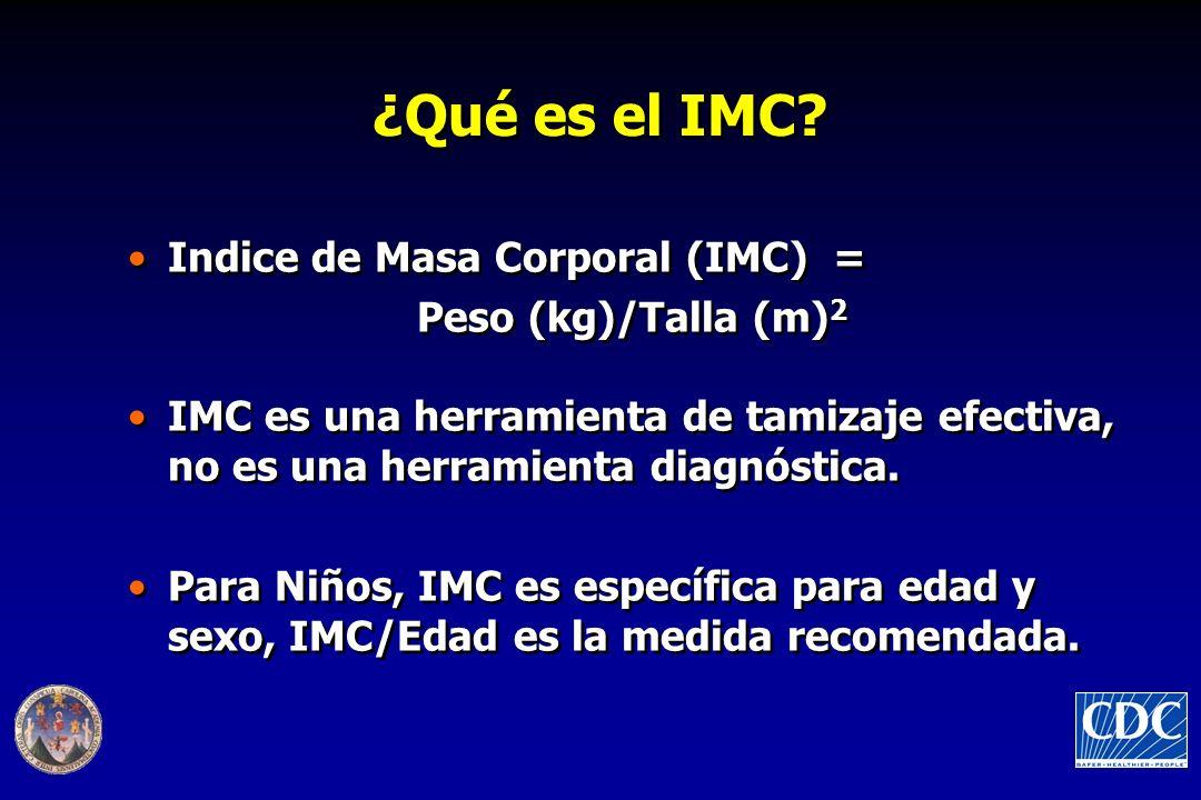 ¿Qué es el IMC Indice de Masa Corporal (IMC) = Peso (kg)/Talla (m)2
