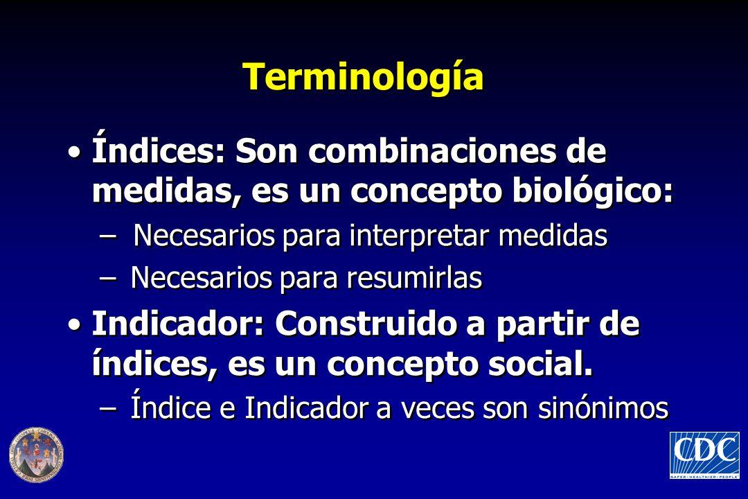 Terminología Índices: Son combinaciones de medidas, es un concepto biológico: Necesarios para interpretar medidas.