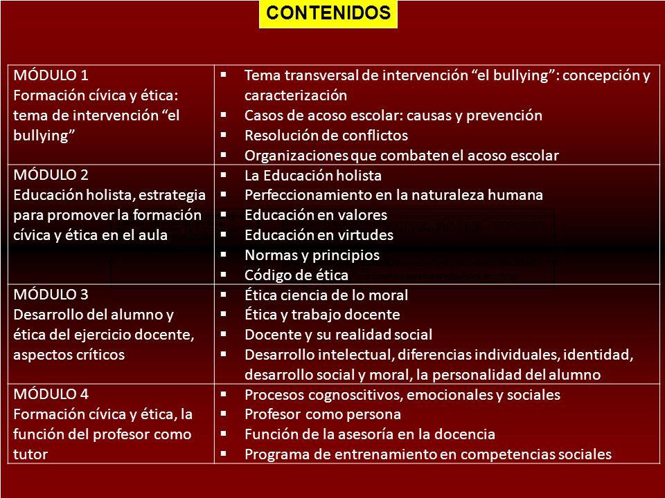 CONTENIDOS MÓDULO 1 Formación cívica y ética: tema de intervención el bullying