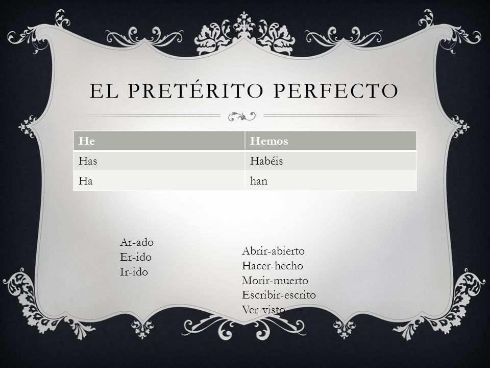 El pretérito perfecto He Hemos Has Habéis Ha han Ar-ado Er-ido Ir-ido
