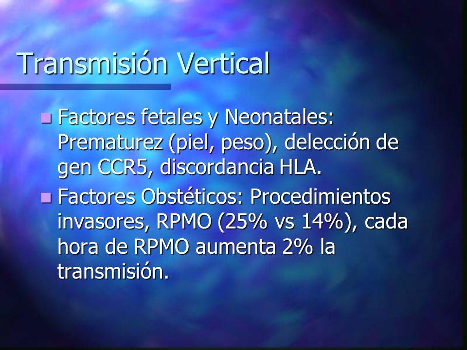 Transmisión Vertical Factores fetales y Neonatales: Prematurez (piel, peso), delección de gen CCR5, discordancia HLA.