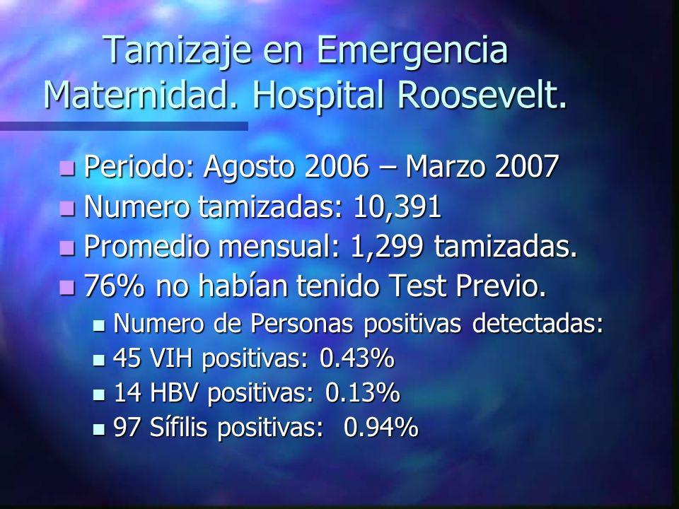 Tamizaje en Emergencia Maternidad. Hospital Roosevelt.