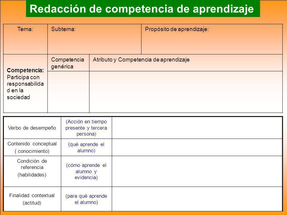 Redacción de competencia de aprendizaje