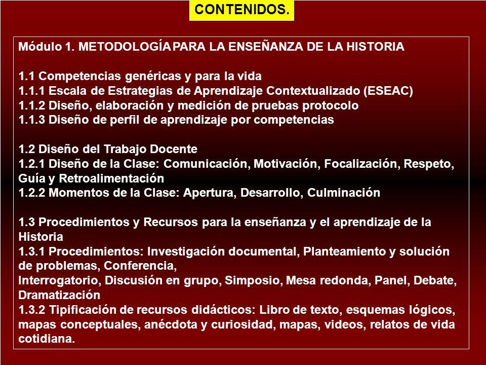 CONTENIDOS. Módulo 1. METODOLOGÍA PARA LA ENSEÑANZA DE LA HISTORIA