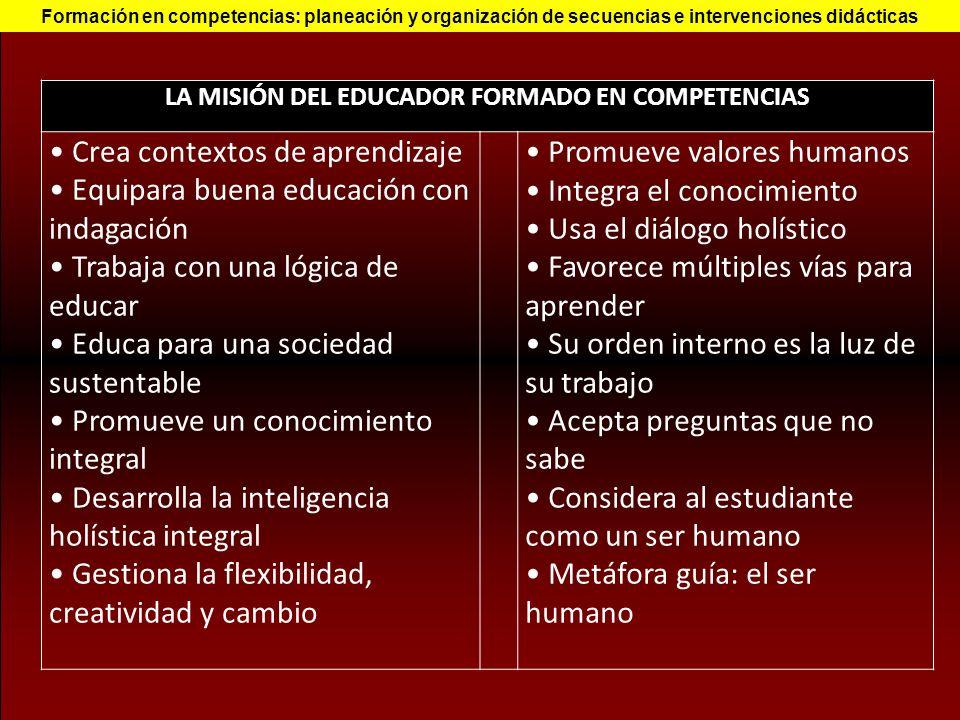 LA MISIÓN DEL EDUCADOR FORMADO EN COMPETENCIAS