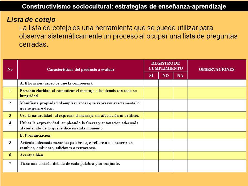 Características del producto a evaluar REGISTRO DE CUMPLIMIENTO