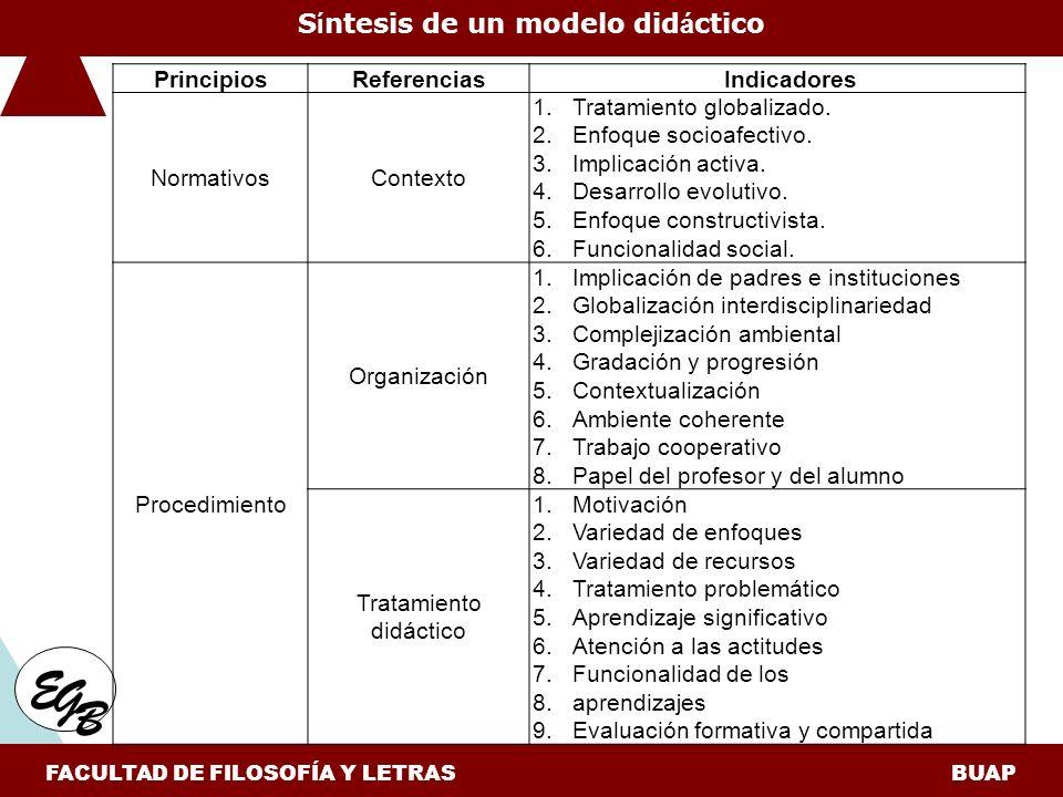 Síntesis de un modelo didáctico FACULTAD DE FILOSOFÍA Y LETRAS BUAP