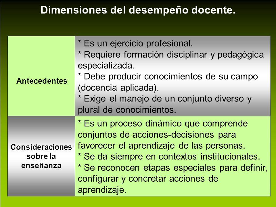 Consideraciones sobre la enseñanza