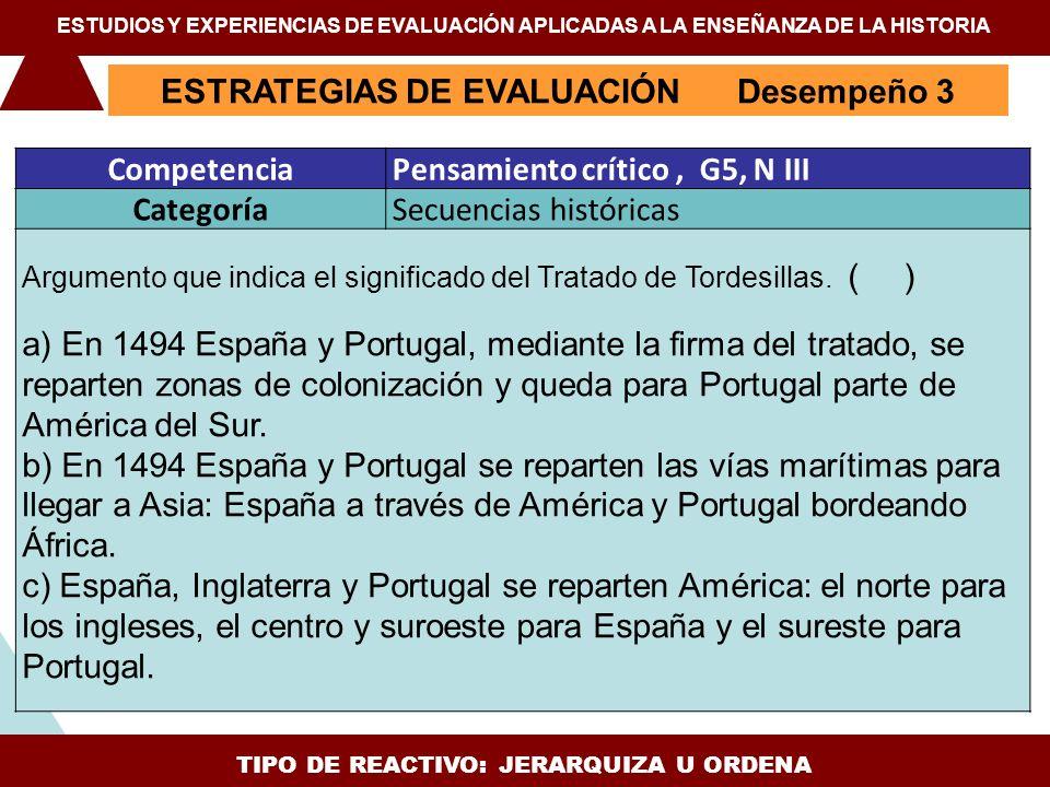 TIPO DE REACTIVO: JERARQUIZA U ORDENA