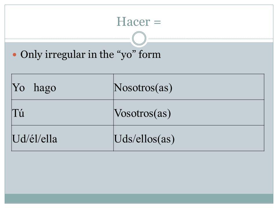 Hacer = Yo hago Nosotros(as) Tú Vosotros(as) Ud/él/ella Uds/ellos(as)