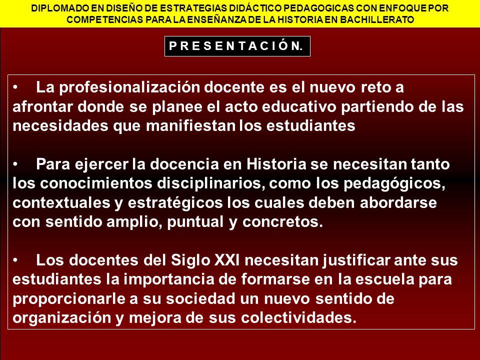 DIPLOMADO EN DISEÑO DE ESTRATEGIAS DIDÁCTICO PEDAGOGICAS CON ENFOQUE POR COMPETENCIAS PARA LA ENSEÑANZA DE LA HISTORIA EN BACHILLERATO